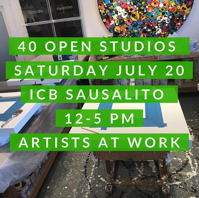 "You are invited - tomorrow Saturday July 20th - over 40 amazing art studios open at the @icbartists - come explore at our annual ""ARTISTS AT WORK"" open house - from 12 to 5 pm - Check out artists working,creating and painting in their studios. Lots of fun hands on demos and a peek behind the scenes in Marin's largest studio filled building. . . Family friendly, dog 🐕 friendly, free event and lots of parking too! Hope to see you at the ICB tomorrow. . . . ICB 480 Gate 5 Road Sausalito Ca 94965 . . . ."